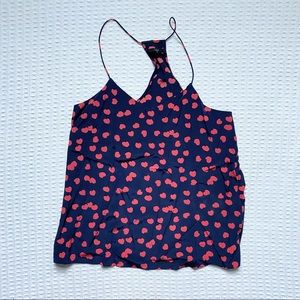 Tibi navy and red heart silk Racerback cami size 8